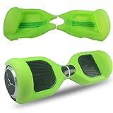 ABBY Scooter Hülle Silikon Schutzhülle Mit Reißverschluss für 6,5 Zoll Hoverboard 2 Rader Smart Self Balancing Elektro Scooter Cover (Transparent grün+Reißverschluss)