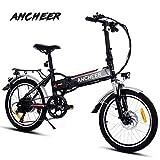 ANCHEER Elektrofahrrad, Faltbares E-Bike für Erwachsene, Faltrad, 20/26 Zoll Klapprad Pedelec mit Lithium-Akku (250W, 36V), Elektrofahrräder mit 7-Gang Shimano Nabenschaltung (20' schwarz)