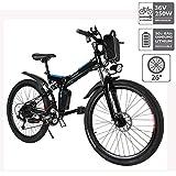 Hiriyt Faltbares E-Bike,36V 250W Elektrofahrräder, 8A Lithium Batterie Mountainbike,26 Zoll Große Kapazität Pedelec mit Lithium-Akku und Ladegerät (Faltbar_Schwarz Blau)