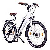 NCM Milano 48V, 26' / 28' Zoll Damen & Herren Urban E-Bike Elektrofahrrad Pedelec, 250W Das-Kit Heckmotor, 13Ah 624Wh Li-Ion Zellen Akku, mechanische Scheibenbremsen, 7 Gang Schaltung (26' Weiß)