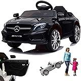 SIMRON Mercedes GLA45 AMG GLA 45 Kinderauto Kinderfahrzeug Kinder Elektroauto mit Tür (Schwarz)