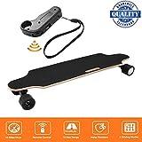 fiugsed Elektrisches Skateboard - 27,5 Zoll Longboard Skateboard mit Funkfernbedienung auf Vier Rädern,Höchstgeschwindigkeit 20km/h zu Senden des Ladegeräts Fernbedienung (Schwarz-Style2)