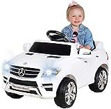 Kinder Elektroauto Mercedes ML 350 Original Lizenz Auto 2X 25 Watt Motor Kinderauto Kinderfahrzeug Elektroauto (Weiß)