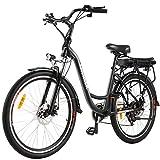 ANCHEER 26' Elektrofahrrad, Stadt E-Bike Cruiser mit Abnehmbarer 12,5Ah-Akku im Heckrahmen 30 Meilen Reichweite Doppelscheibenbremsen (Stadtfahrrad-Schwarz)
