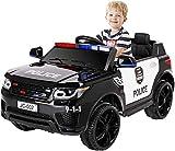 Bamny 12V Kinder Elektroauto Polizeiauto, 2 x 30W Motor Kinderauto Kinderfahrzeug Elektro Polizei, 2,4 Ghz Fernbedienung - Musik & Mikrofon - USB - Bluetooth - LED Sirene Blinklicht