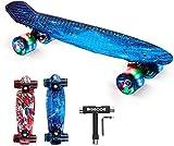 SGODDE Skateboard Komplette 56cm/22 Mini Cruiser Board Retro Komplettboard für Anfänger Kinder Jugendliche Erwachsene,56x15cm Komplett Board mit ABEC-7 Kugellager,LED PU Leuchtrollen,T-Tool