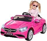 Actionbikes Motors Kinder Elektroauto Mercedes Amg GT-R - Lizenziert - 2 x 25 Watt Motor - Ledersitz - Eva Reifen - Softstart - Kinderauto (Pink)