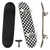 Benewell Skateboard Komplett Board Funboard 79x20cm mit 7-lagigem Ahornholz, für Kinder, Jugendliche und Erwachsene(Schwarz-Weiß-Raster)