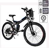 Hiriyt Faltbares E-Bike,36V 250W Elektrofahrrder, 8A Lithium Batterie Mountainbike,26 Zoll Groe Kapazitt Pedelec mit Lithium-Akku und Ladegert (Faltbar_Schwarz)