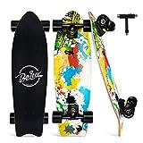 BELEEV Skateboard 27x8 Zoll Komplette Cruiser Skateboard für Kinder Jugendliche Erwachsene, Ahorn Double Kick Deck Concave mit All-in-One Skate T-Tool (Gelb)