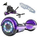FUNDOT Hoverboards mit Sitz, Hoverboards mit Hoverkart, Go Kart 6,5 Zoll, Hoverboards mit schönen LED-Leuchten, Hoverboards mit Bluetooth-Lautsprecher, Geschenk für Kinder
