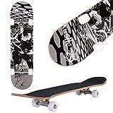 fiugsed Skateboard Komplettboard Mit ABEC-9 Kugellager Und 9-Lagigem Ahornholz 95A Rollenhrte Funboard FR Anfnger Und Profis - Belastung 100 KG (Schwarz)