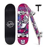 BELEEV Skateboard Erwachsene 31x8 Zoll Komplette Cruiser Skateboard für Kinder Jugendliche Anfänger, 7-Lagiger Kanadischer Ahorn Double Kick Deck Concave mit All-in-one Skate T-Tool(Rosa)