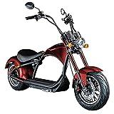 Chopper E-Mobil 45 km/h Elektro Roller E Scooter Straßenzulassung Elektroroller (rot)