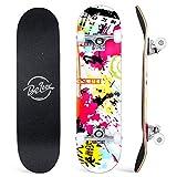 BELEEV Skateboard 31x8 Zoll Komplette Cruiser Skateboard für Kinder Mädchen Erwachsene, 7-Lagiger Kanadischer Ahorn Double Kick Deck Concave mit All-in-one Skate T-Tool für Anfänger (Graffiti)