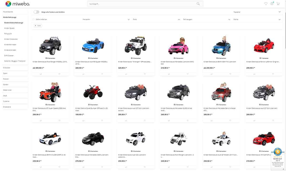 c81449879a Im Bild ist die Vielzahl an Elektroautos bei miweba* zu sehen. (Datum:  1.Mai.2019)