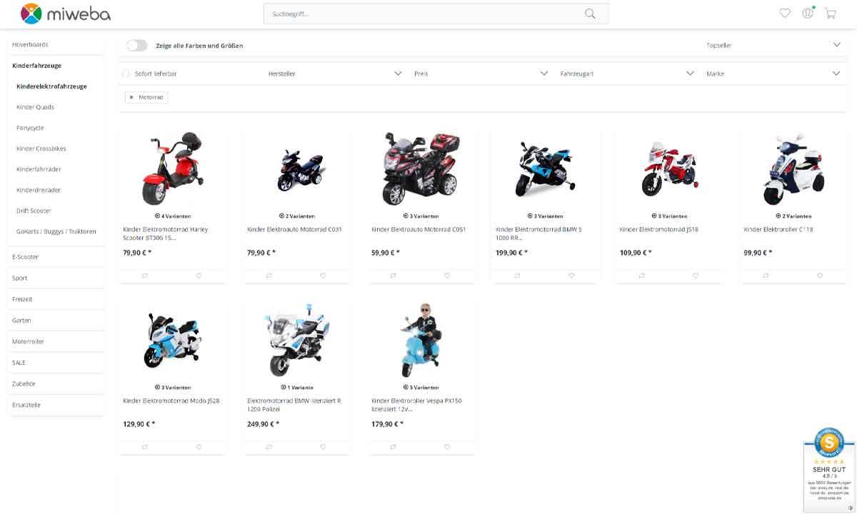 da842ec107 Im Bild ist eine aktuelle Auswahl an Elektro-Motorrädern für Kinder bei  miweba* zu sehen. (Datum: 1.Mai.2019)